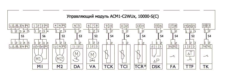 Схема подключения управляющих